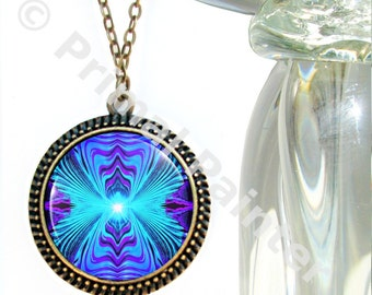 "Purple Teal Chakra Jewelry, Reiki Energy Necklace, Wearable Art ""Intuitive Truth"""