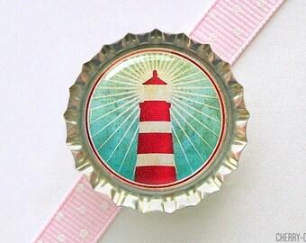 Lighthouse Bottle Cap Magnet, fridge magnet, lighthouse decor, light house decor, nautical decor, nautical party favors, nautical gifts