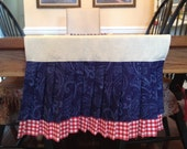 Pleated Americana red, white and blue table runner for 72 inch table.