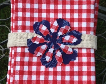 Set of 6 red picnic checked napkins