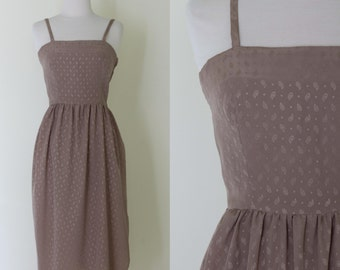 1970s Saulino for Carrie Couture taupe silk dress / vintage tan paisley print spaghetti strap dress