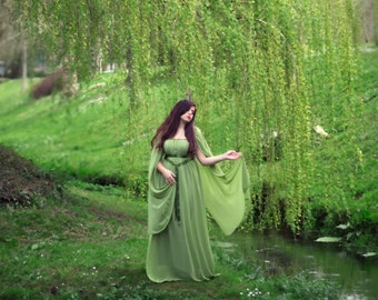 Elven fairytale dress in gauze chiffon and golden trim