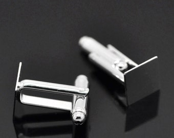Lot of 10 Silver Plated Square Cuff Links (5 pairs) - 10mm Glue Pad Setting