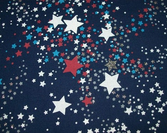 Silver Glitter Patriotic Fabric sold by the Yard for Apparel, Decorating/July 4th/Independence Day Fabric/ Veteran's Day/Memorial Day Fabric