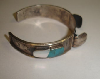 Vintage Old Pawn Sterling Silver Native American Turquoise & Mother of Pearl Watch Cuff  Bracelet