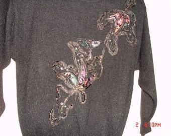 Vintage 1980's Black Sequined, Beaded Velvet Applique Womens Sweater P. Galli Size M