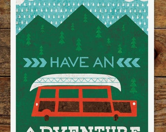 8x10 Happy Camper, Have an Adventure, Art Print, Station Wagon, Camping, Canoe, Mountains, Woods, Forest, Nature, Vintage, Retro