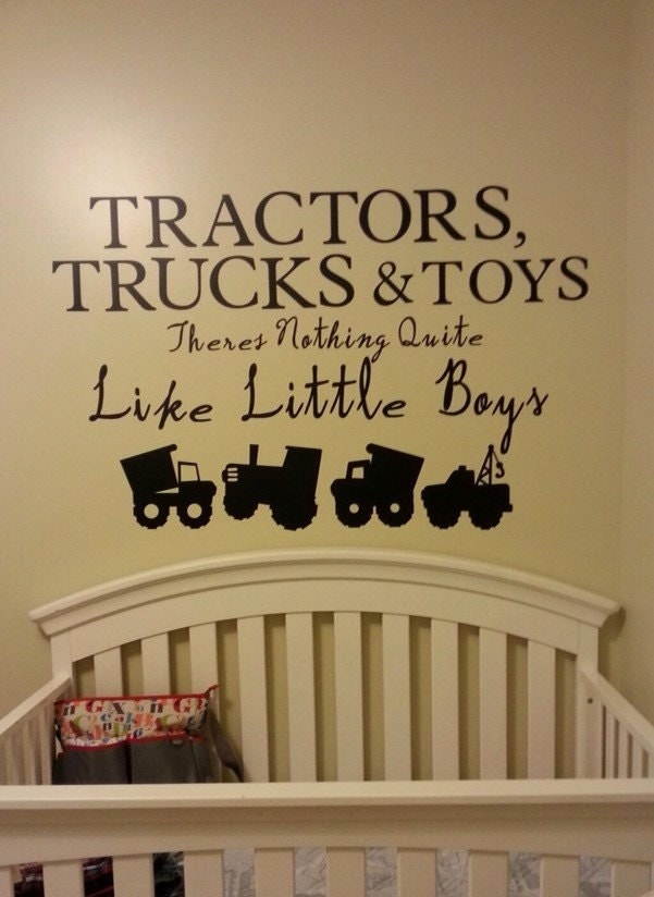 Baby Boy Nursery Wall Decal Vinyl Decal Tractor Construction