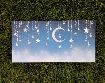 Custom Starry Night Wall Hanging in Cut Paper and Paint