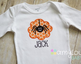 Orange Dots Spider Halloween Bodysuit - Boy - First Halloween - Baby - Child -