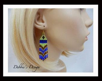 Women's Blue, Green, Brown Dangle Earrings-399 Women's Earrings, Jewelry, Beadwork, Beaded, Dangle, Women's Jewelry, Jewelry Accessories
