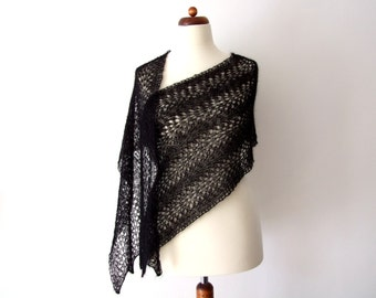 black lace shawl, black scarf, knitted lace wrap, mohair shawl, goth bride