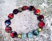Seraphinite red tigers eye healing bracelet - connect with nature