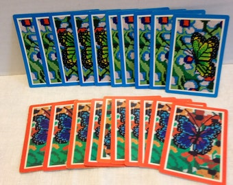 Vintage Twenty Playing Cards Paper Ephemera Gift Tags Butterflies Needlepoint Design