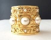 Vintage Gold Tone Cabochon Pearl Cuff Bracelet