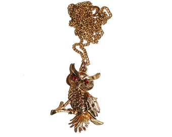 Vintage Gold Owl Necklace - Vintage Gold Owl Pendant with Red Rhinestone Eyes