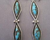 Vintage Sterling Turquoise Double Teardrop Earrings