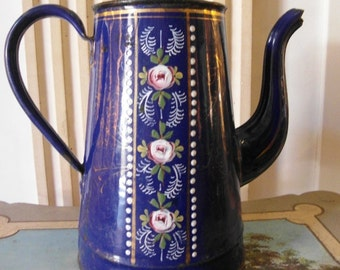 Enameled  French COFFEE POT in Blue hand painted ROSES