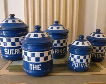 Antique Enameled FRENCH Kitchen canisters BLUE Checks LUSTUCRU