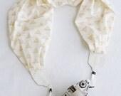 LAST CALL SALE - scarf camera strap - gold triangle