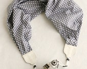 scarf camera strap - gray polka dot