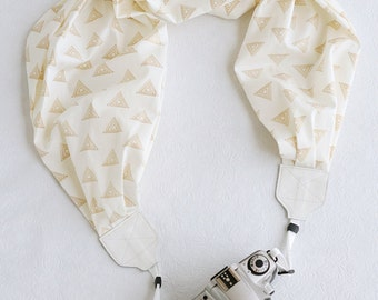 LAST CALL SALE - scarf camera strap - gold triangle