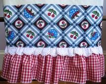 Ruffle Tea, Kitchen, dish towel-Bowl of Cherries/Red Gingham/Eyelet