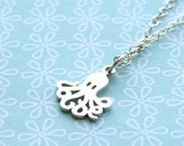 Tiny Octopus Sterling Silver Necklace