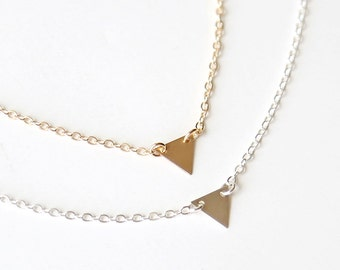 Mini Modern Triangle Necklace // 14K Gold Filled or Sterling Silver // Simple everyday jewelry
