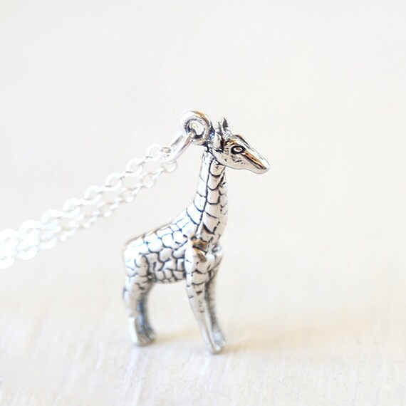 Long Sterling Silver Giraffe Necklace // Simple modern necklace