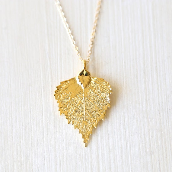 Real Gold Dipped Leaf Necklace -  Delicate and Simple Jewelry - on 14K gold filled chain
