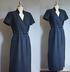 Vintage Anna Sui Black Dress 1980's Vintage s Black Maxi Wrap