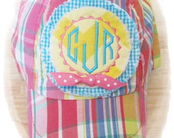Hat, Toddler Hat, TODDLER Baseball Cap - - - Preppy Plaid with Embroidered Monogram on Chevron Design with or without Bow