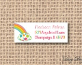 Return Address Labels - Rainbow and Cloud in Colorful Polka Dots or Stripes - 120 self-sticking labels