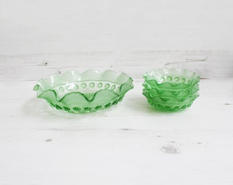 Vintage Green Trifle Dish - Blackberry Prunt Bowl Emerald pudding serving kitchenware glass glassware