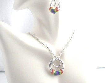 True Colors Serenity Chainmaille Pendant and Earring Set