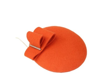 Mini Hat-Button-Fascinator-Wool Felt-Orange
