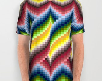 Bargello quilt style all-over print shirt, gift for quilter, embroiderer, blue green red gold yellow ombre, T shirt sublimation shirt TS531