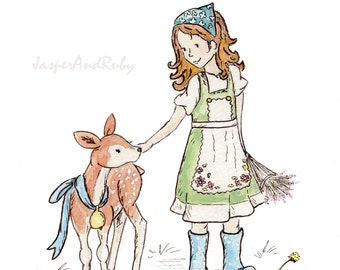 Children's Wall Art- My Little Deer- 11x14 Giclee Print- Red Haired Girl with Fawn