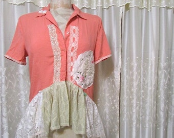 SALE Whimsical Shabby Top, vintage lace embellished, romantic soft salmon colored silk, upcycled clothes, altered clothing, Womens MEDIUM