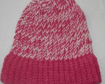 Alpaca Hat - Amazinglyy Soft - Knit - Pink & White