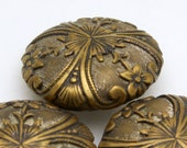 Vintage Victorian Ornate Brass Button Set, 24mm, 3pc/set