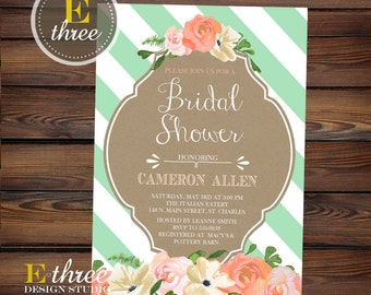 Mint and Peach Bridal Shower Invitation - Floral Watercolor Wedding Shower Invitations - Kraft Paper and Stripes - Rustic Modern #1044