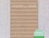 Print Your Own Baby Wish Cards - Kraft Paper Brown & White - Stripes - Baby Book Keepsake - Baby Shower Game