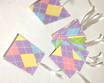 10 Pieces Gift Tags Argyle print 2in.x3in. Folded Cardstock Handmade Hand-punched