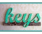 KEYS Sign with Key Hooks, Decorative Wall Letters, Key Hanger, Your choice of Colors