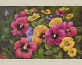 Original Oil Painting on canvas Colorful flowers realistic ready to hang gift pansies yellow red purple pink handmade large art by Marchella