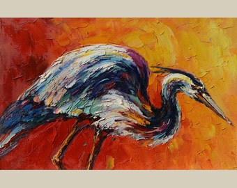 ORIGINAL on canvas Oil Painting Colorful Heron painting Animal painting palette knife Yellow Red ready to hang Texture painting Marchella