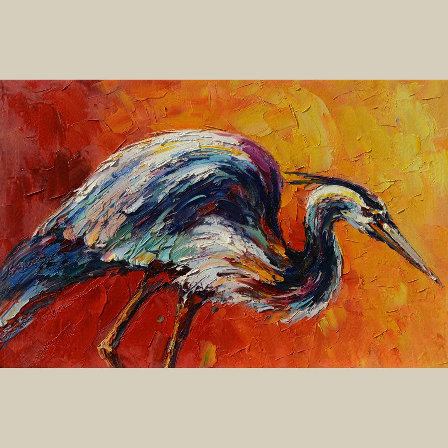 Original on canvas oil painting colorful heron painting animal for Animal oil paintings