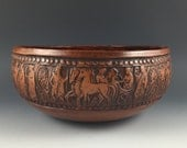 Greek studio pottery bowl with ancient figures